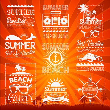 sunny beach: Retro hand drawn elements Summer calligraphic designs Vintage ornaments