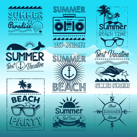 summer holiday: Vintage summer typography design with labels, icons elements