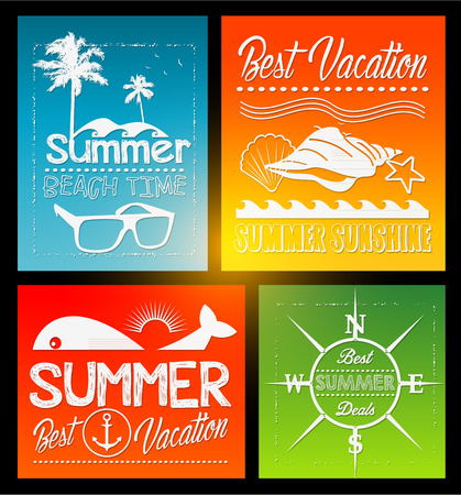 four Summer vector text typography vintage poster isolated from background