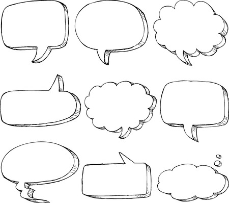 thought bubbles: Hand drawn comic speech bubble set