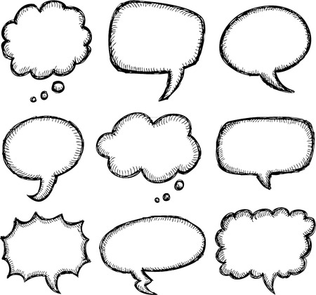 cute text box: Hand drawn comic speech bubble set