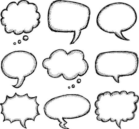 Hand drawn comic speech bubble set