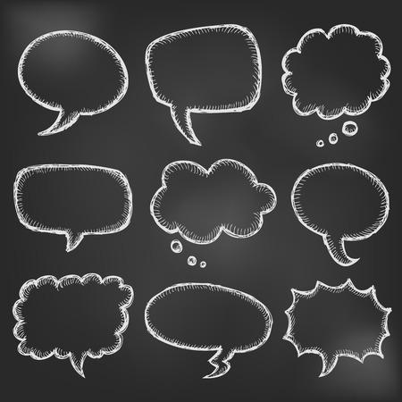 comic bubble: Hand drawn comic speech bubble set