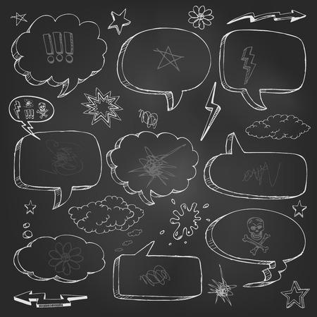 Hand gezeichnet Comic-Sprechblase Set Standard-Bild - 39295236