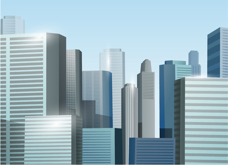 city view: Sunrise cityscape vector stock illustration background
