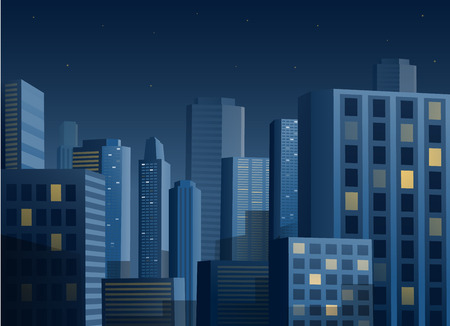 night road: Cityscape at night vector illustration background