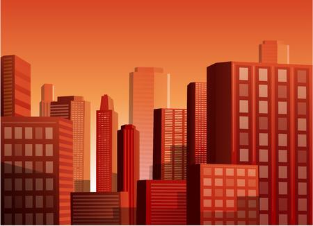 Cityscape bij zonsondergang vector illustratie achtergrond Stock Illustratie