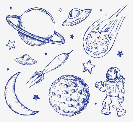 earth from space: Space doodle set hand drawn vector elements