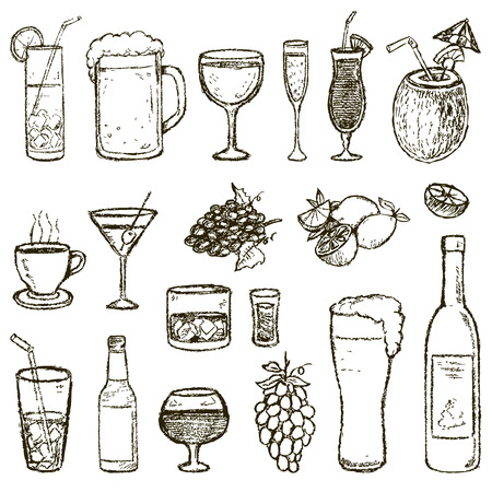Set of Sketch Cocktails and Alcohol Drinks vector illustration Illustration
