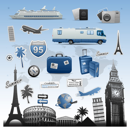 Travel and vacations icons set vector elements