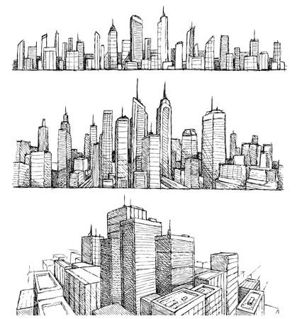 dessin noir et blanc: Dessinés à la main grandes villes paysages urbains et des bâtiments Illustration