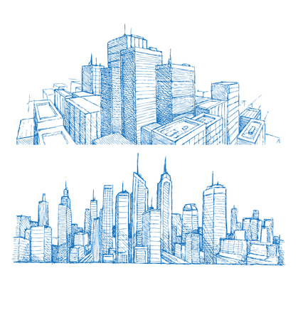 panoramic view: Hand drawn cityscapes and buildings blue print