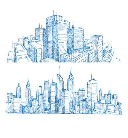 Mano dibujado paisajes urbanos y edificios de impresión azul