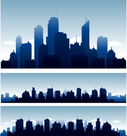 horizon: Big cities skyline buidlings with reflection Illustration