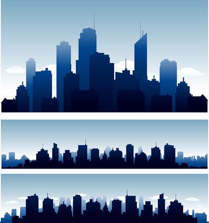 negro: Las grandes ciudades horizonte edificios que con la reflexión