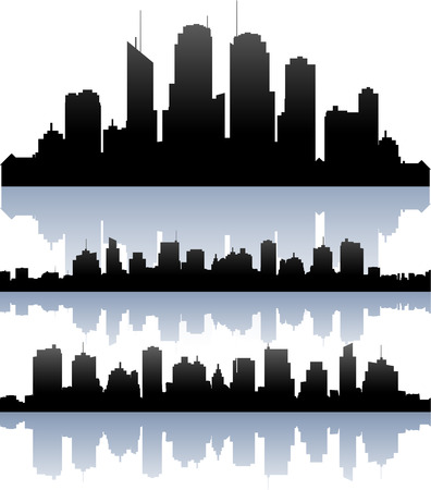 horizon reflection: cityscape skyline buildings silhouette collection