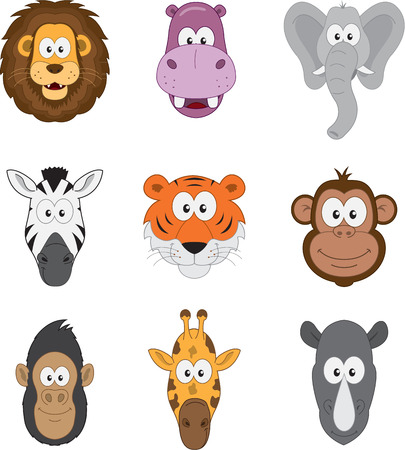 漫画ジャングルのサバンナとアフリカの動物セット