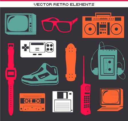Rétro collection 80 éléments vintage set