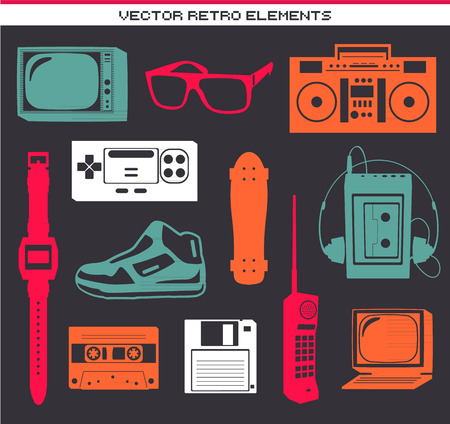 old phone: Retro 80 vintage elements set collection
