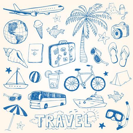 Hand drawn travel doodles vector illustration set 일러스트