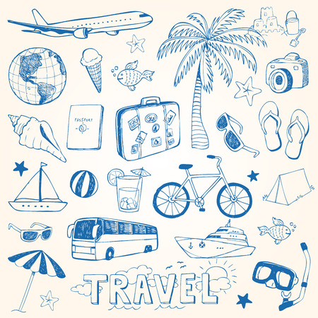 Hand drawn travel doodles vector illustration set Vettoriali