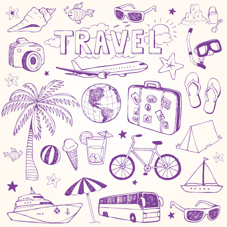 summer holiday: Hand drawn beach and travel doodles vector illustration set