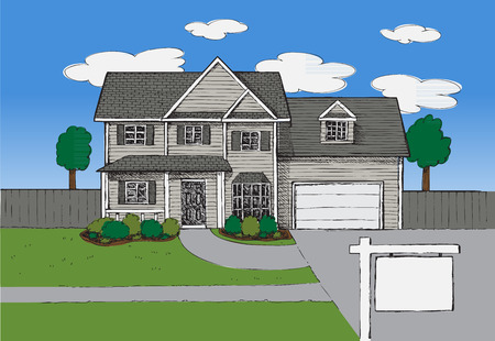 estate: Hand drawn Real estate house background