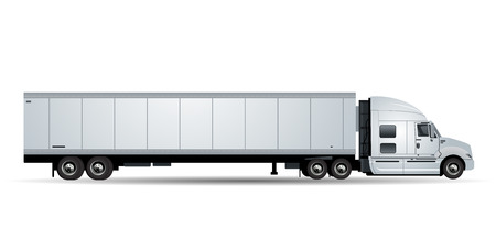 heavy industry: Vector truck with trailer isolated on white background