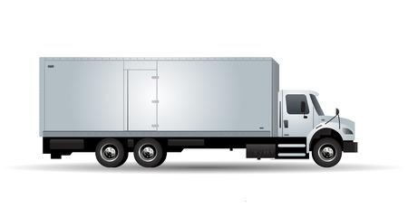 camion: Vector camión con remolque aislado en fondo blanco