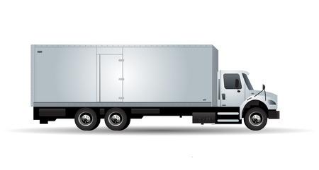 white truck: Vector truck with trailer isolated on white background