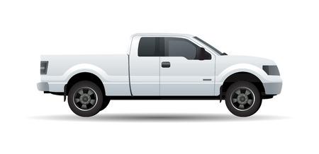 ciężarówka: Biały pick up truck wyizolowanych na białym ilustracji wektorowych