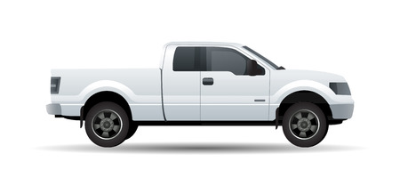 White pick up truck isolated on white vector illustration Çizim