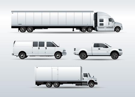 輸送貨物ベクトル イラスト白い背景で隔離のトラックのセット