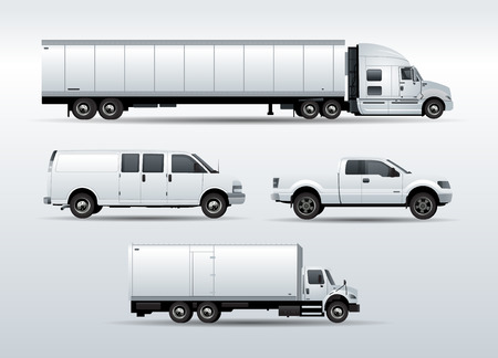 Set of Trucks for transportation cargo vector illustration isolated on white background