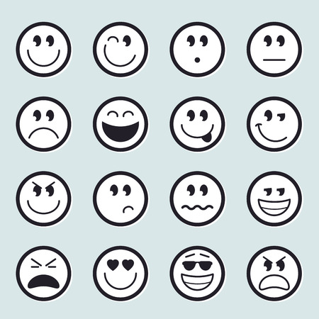 Set of vector emoticon icons 矢量图像