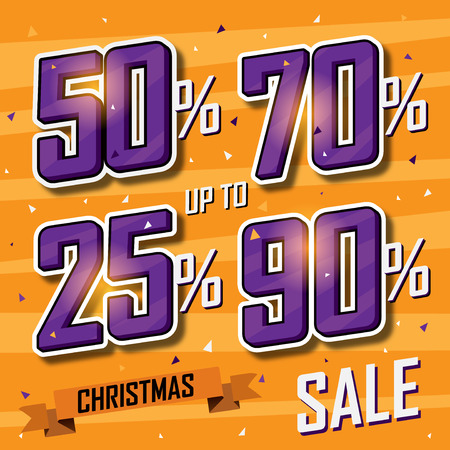 discount banner: Christmas sale banner Vector sales discount percentage Illustration