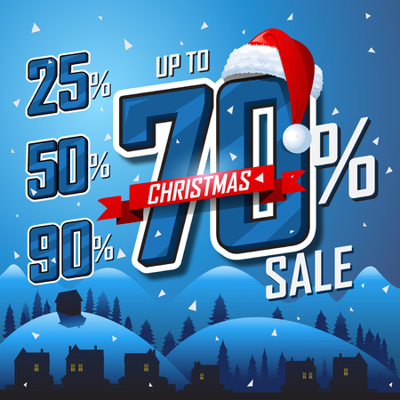 discount banner: Christmas sale winter banner Vector sales discount percentage