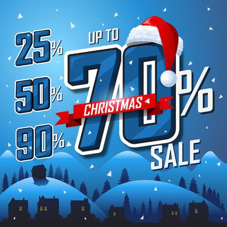 Christmas sale winter banner Vector sales discount percentage