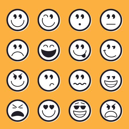 thrilled: Emoticons stock vector illustration set