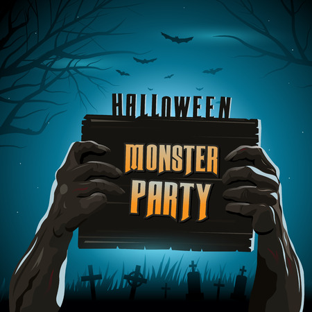man arm: Halloween vector illustration zombies arms from the ground with invitation banner party