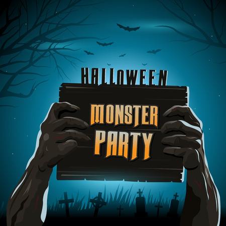 Halloween-Vektor-Abbildung Zombie in die Arme vom Boden aus mit Einladung Banner Partei Standard-Bild - 43671861