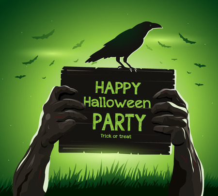 fool moon: Halloween vector illustration zombies arms from the ground with invitation banner party