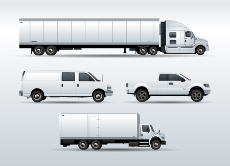 Set of Trucks for transportation cargo vector illustration isolated on white background