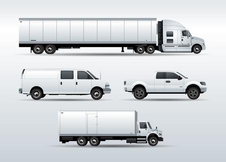 Set von Lastwagen für den Transport Fracht Vektor-Illustration isoliert auf weißem Hintergrund