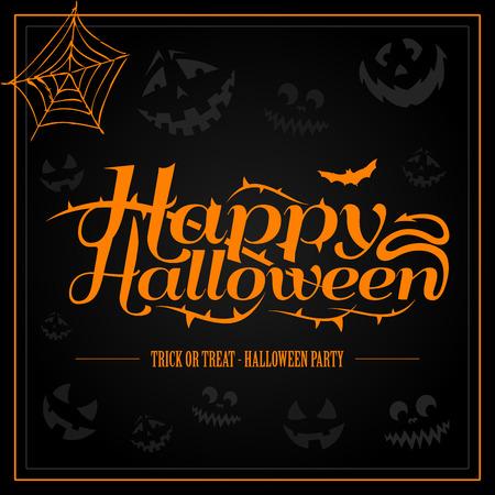 Happy Halloween orange letter in black background vector Vectores