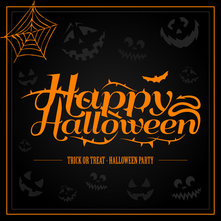 Happy Halloween orange letter in black background vector Illustration