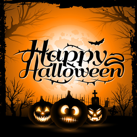 Vintage Happy Halloween Typographical Background With Pumpkins