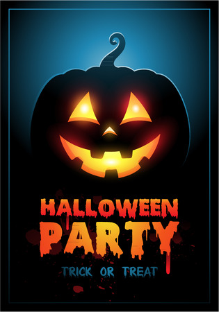 Halloween Party Design template background with pumpkin and place for text Illustration