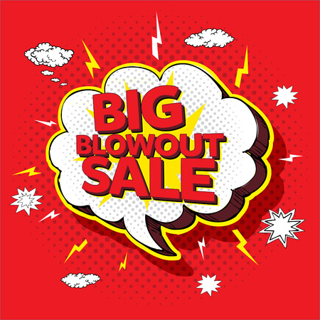 Big blowout sale pop up cartoon banner vector illustration 스톡 콘텐츠