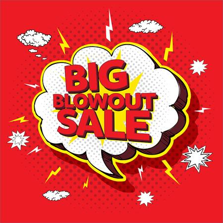 Big blowout sale pop up cartoon banner vector illustration Archivio Fotografico